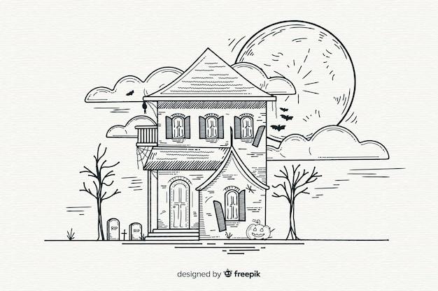 Dibujado a mano blanco y negro fondo de halloween
