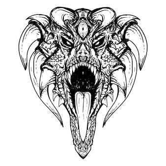 Dibujado a mano en blanco y negro ilustración cabeza de dragón con más cuerno premium