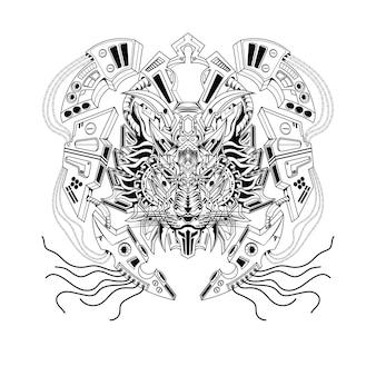Dibujado a mano en blanco y negro ilustración león mecha robot