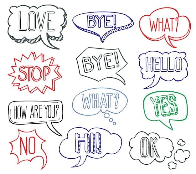 Dibujado a mano boceto discurso burbujas nubes con diferentes mensajes. conjunto de desi burbuja cómico dibujado a mano