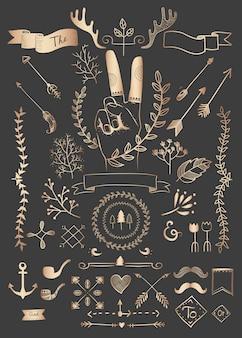 Dibujado a mano boho doodle elemento vectores colección