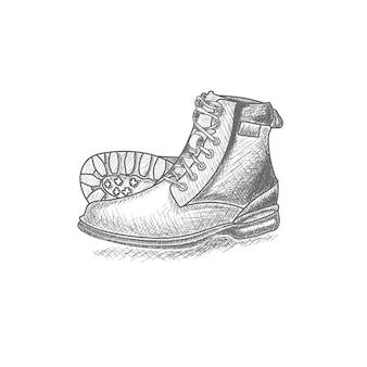 Dibujado a mano botas vintage