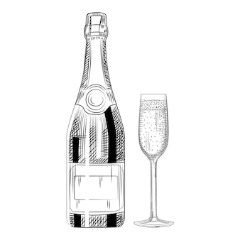 Dibujado a mano botella de champán y vidrio.