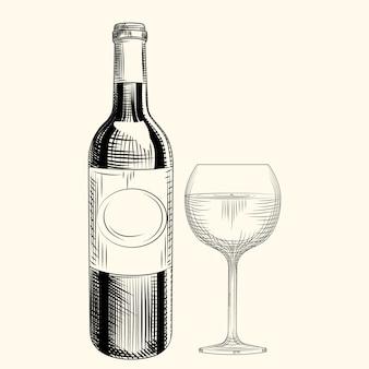 Dibujado a mano botella de vino y vidrio. estilo de grabado. objetos aislados