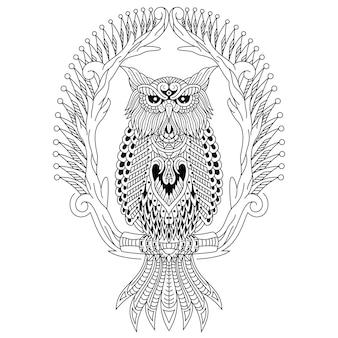 Dibujado a mano de búho en estilo zentangle