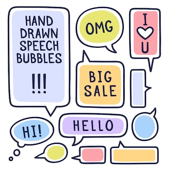 Dibujado a mano las burbujas del discurso del doodle conjunto con acentuación, lleno de trazos de pintura y textos de ejemplo gran venta, hola, hola, te amo