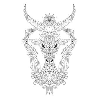 Dibujado a mano de cabeza de ciervo en estilo zentangle