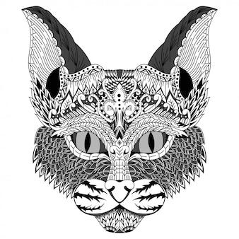 Dibujado a mano de cabeza de gato en estilo zentangle
