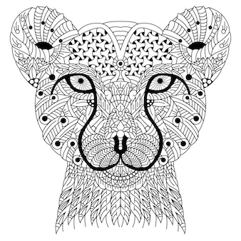 Dibujado a mano de cabeza de guepardo en estilo zentangle