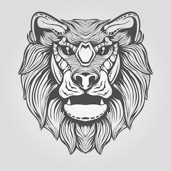 Dibujado a mano cabeza de león
