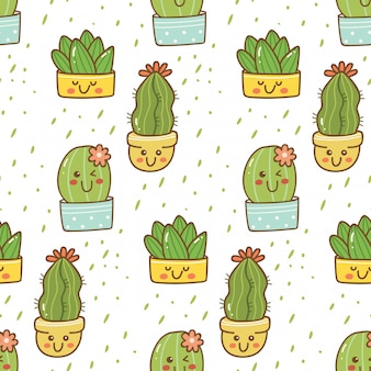 Dibujado a mano cactus de patrones sin fisuras