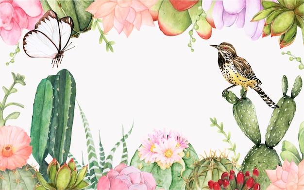 Dibujado a mano cactus y plantas de éxito fondo