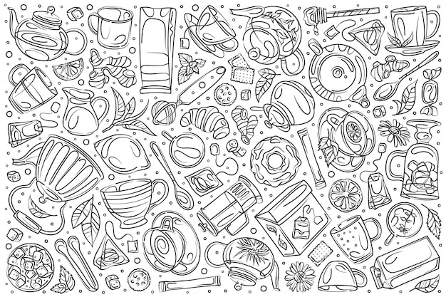 Dibujado a mano cafetería set doodle