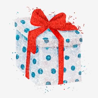 Dibujado a mano caja de regalo brillo ilustración