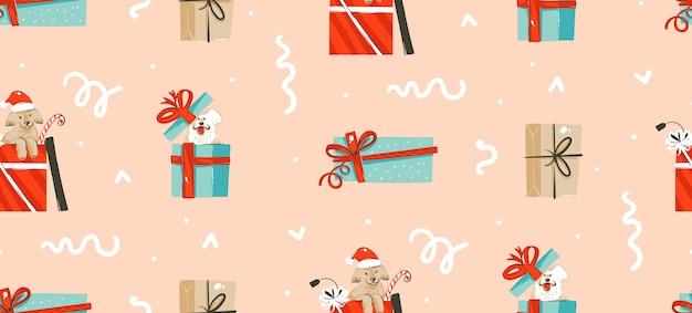 Dibujado a mano, caja de regalo presente, patrón transparente de dibujos animados