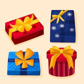 Dibujado a mano cajas de regalo envueltas para navidad