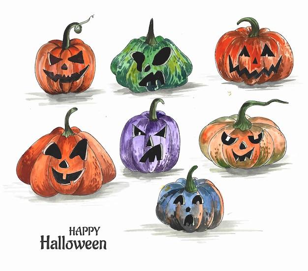 Dibujado a mano calabazas de halloween divertido diseño de conjunto de acuarela