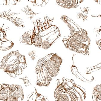 Dibujado a mano carne monocromo de patrones sin fisuras