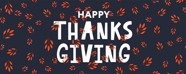 Dibujado a mano cartel de tipografía de letras de acción de gracias feliz. cita de celebración para tarjeta, postal, logotipo de icono de evento o insignia. caligrafía de otoño de la vendimia del vector. letras grises con hojas de arce rojo