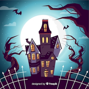 Dibujado a mano casa embrujada de halloween