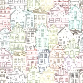 Dibujado a mano casas de patrones sin fisuras