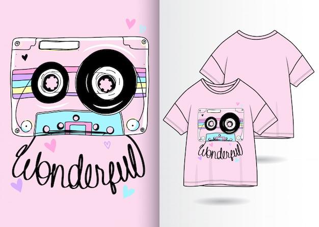 Dibujado a mano cassette vintage