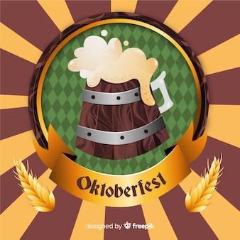 Dibujado a mano cerveza de barril oktoberfest de madera