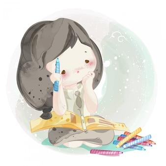 Dibujado a mano una chica encantadora.