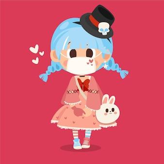 Dibujado a mano chica estilo lolita