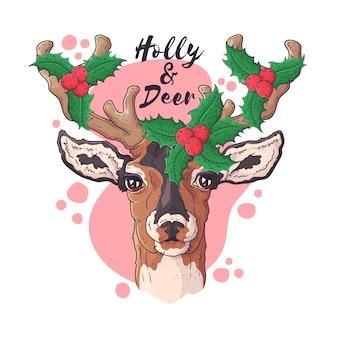 Dibujado a mano de ciervos en accesorios navideños