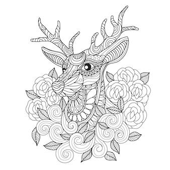 Dibujado a mano ciervos y rosa