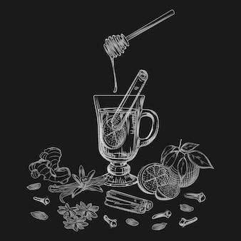Dibujado a mano cítricos vino sin alcohol caliente y especias en la pizarra.