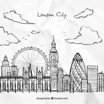 Dibujado a mano de la ciudad de londres