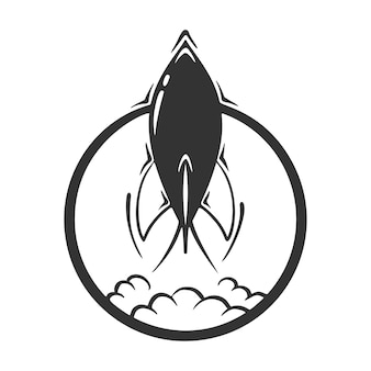 Dibujado a mano de cohete en círculo, aislado sobre fondo blanco.