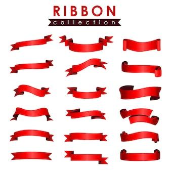 Dibujado a mano colección de cintas rojas