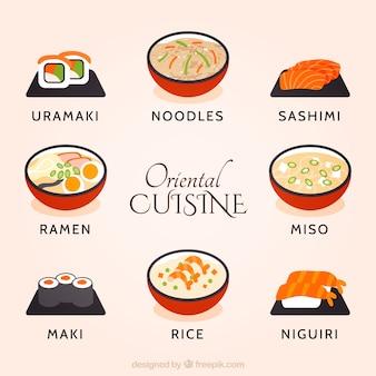 Dibujado a mano la colección cocina oriental