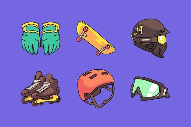 Dibujado a mano colección de elementos de deporte extremo de dibujos animados lindo plano