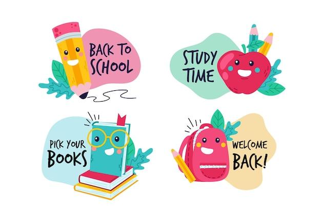 Dibujado a mano a la colección de etiquetas de la escuela