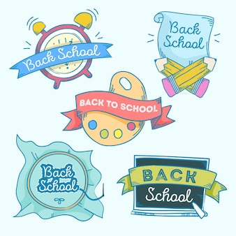 Dibujado a mano a la colección de insignias de la escuela