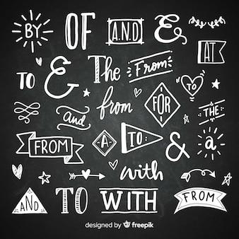 Dibujado a mano colección de palabras clave de la boda