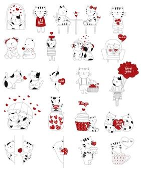 Dibujado a mano colección de pareja de animales de san valentín