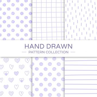 Dibujado a mano colección de patrones sin fisuras.