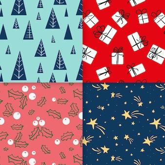 Dibujado a mano colección de patrones navideños