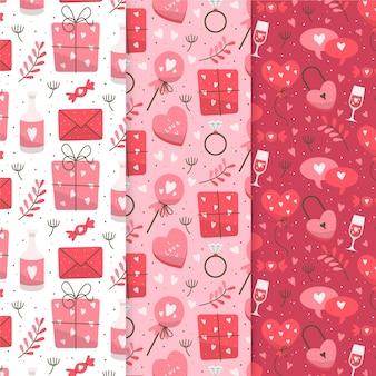 Dibujado a mano colección de patrones de san valentín