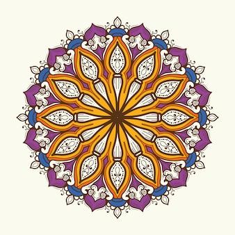 Dibujado a mano color mandala oriental