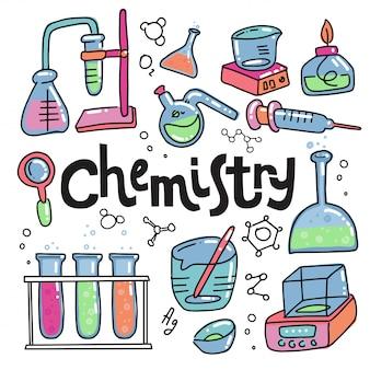 Dibujado a mano color química y ciencia iconos conjunto. colección de equipos de laboratorio en estilo doodle.