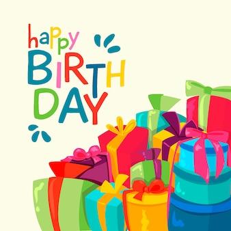 Dibujado a mano de colores de fondo de cumpleaños