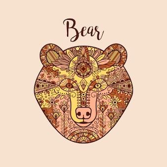 Dibujado a mano colorido doodle cara de oso