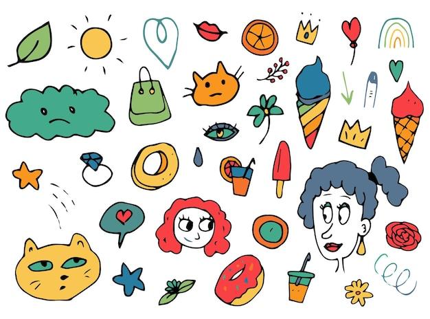 Dibujado a mano colorido doodle icono verano naturaleza niña cara nube ojo helado gato