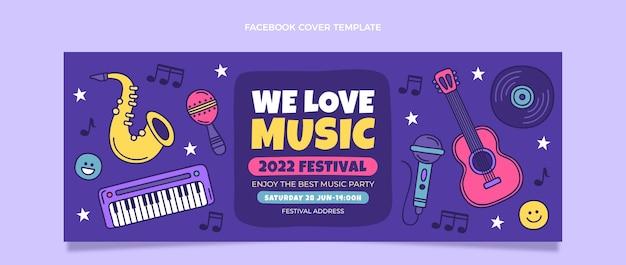 Dibujado a mano colorido festival de música portada de facebook